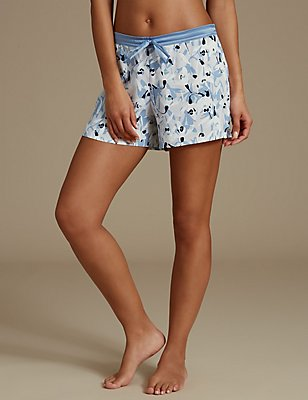 Floral Print Short Pyjama Bottoms, BLUE MIX, catlanding