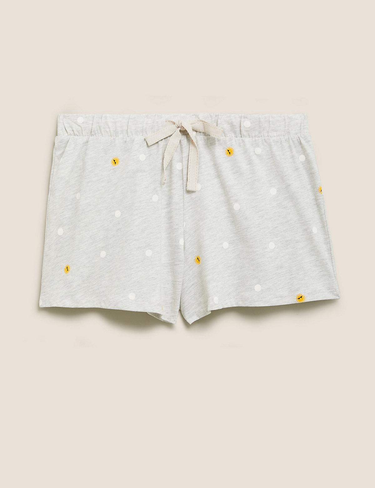 Хлопковые пижамные шорты в горошек