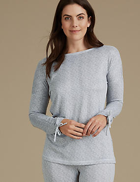Textured Tie Cuff Long Sleeve Pyjama Top, GREY MIX, catlanding