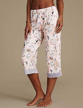 Floral Print Cropped Pyjama Bottoms, NEUTRAL, catlanding