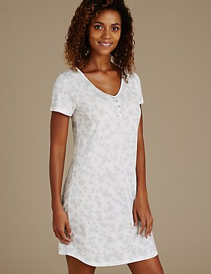 Silhouette Print Pin-Tuck Nightdress with Cool Comfort™ Technology, GREY MIX, catlanding