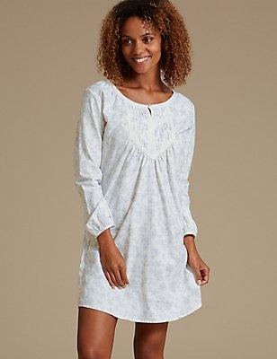 Pure Cotton Shadow Print Nightshirt, GREY MIX, catlanding