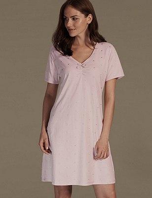 Pure Cotton Heart Embroidered Minishirt, PINK MIX, catlanding