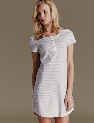 Pure Cotton Striped Minishirt , GREY MIX, catlanding