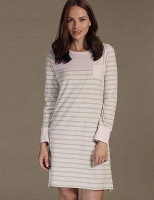 Cotton Rich Supersoft Striped Minishirt, PINK MIX, catlanding