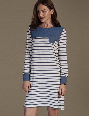 Cotton Rich Supersoft Striped Minishirt, BLUE MIX, catlanding