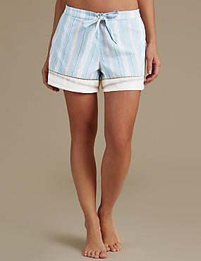 Kurze Schlafanzughose aus reiner Baumwolle mit Streifenmuster, BLAU MELANGE, catlanding
