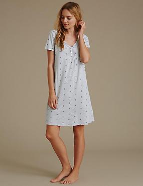Daisy Floral Minishirt with Modal, GREY MIX, catlanding