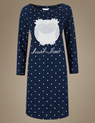 """Ночная рубашка с длинным рукавом в звёздочку """"Сова"""" от Marks & Spencer"""