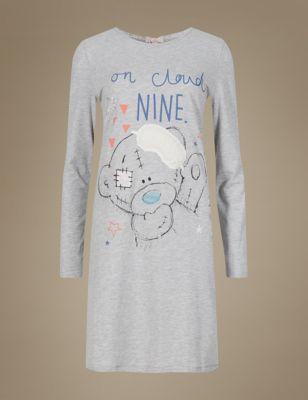 Хлопковая ночная рубашка с мишкой и завязкой-бантом T373599