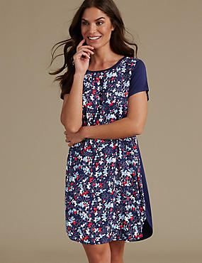 Floral Print Short Nightdress, NAVY MIX, catlanding