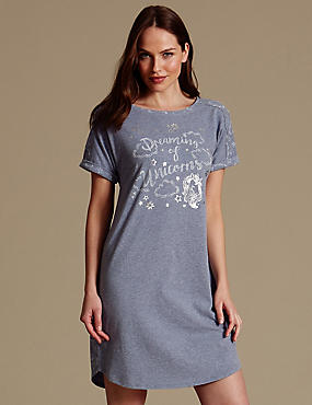 Slogan Print Short Nightdress, NAVY MIX, catlanding