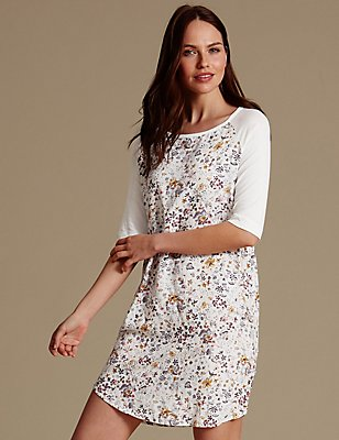Floral Print Nightdress, CREAM MIX, catlanding