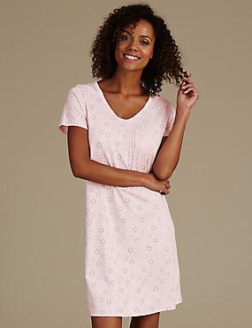 Modal Blend Daisy Print Nightdress, PINK MIX, catlanding