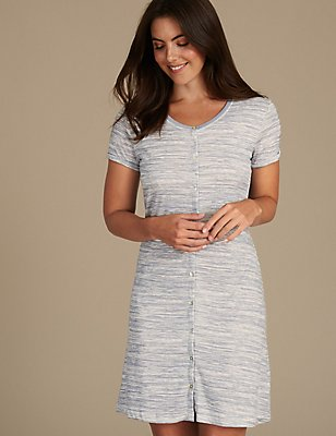 Printed Nightdress with Cool Comfort™ Technology, GREY MIX, catlanding