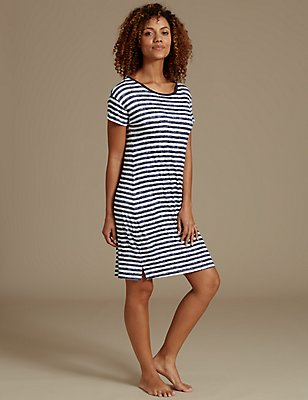 Striped Short Nightdress, NAVY MIX, catlanding
