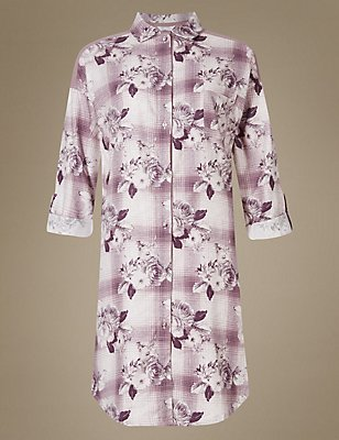 Cotton Blend Floral Print Nightshirt, PINK MIX, catlanding