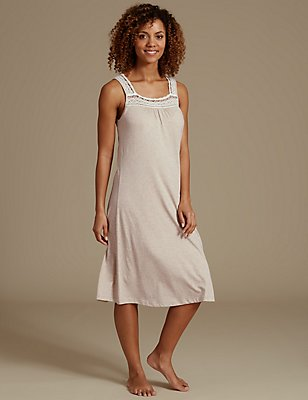 Modal Blend Crochet Built-up Shoulder Nightdress, OATMEAL, catlanding