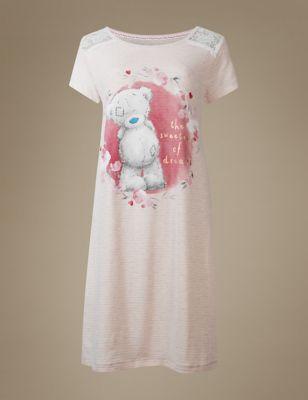 Однотонная ночная рубашка Tatty Teddy с кружевом и крупным принтом T373634M