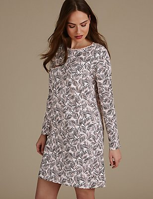 Pure Cotton Plam Print Nightdress, BLACK MIX, catlanding