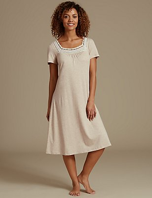 Modal Blend Short Sleeve Crochet Nightdress, OATMEAL, catlanding