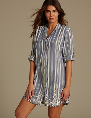 Pure Cotton Embroidered Nightshirt, BLUE MIX, catlanding