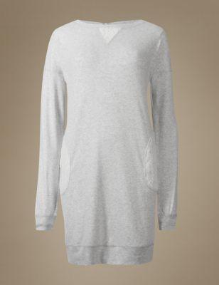 Хлопковая ночная рубашка-туника с кружевными вставками M&S Collection T373647M