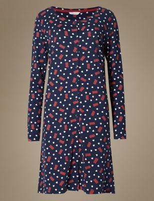 Ночная рубашка с принтом и пуговицами M&S Collection T373648M