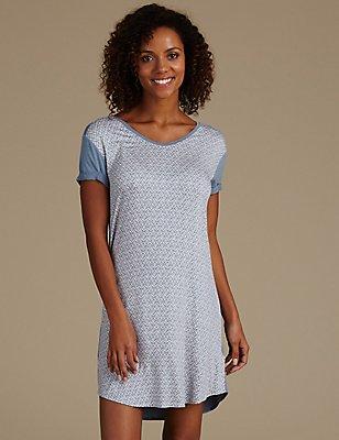 Geometric Print Short Nightdress, BLUE MIX, catlanding