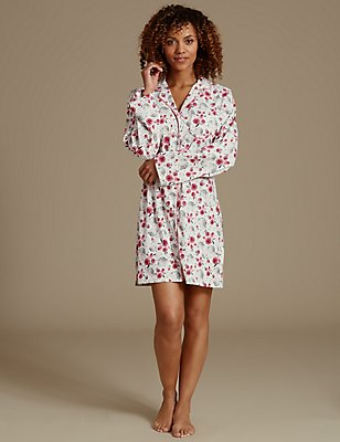 Printed Long Sleeve Short Nightdress , PINK MIX, catlanding