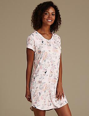 Chemise de nuit courte à imprimé fleuri, COULEUR CHAIR, catlanding