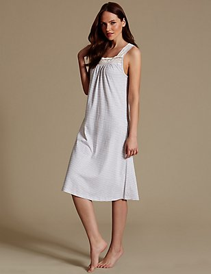 Modal Blend Crochet Trim Nightdress, GREY MIX, catlanding
