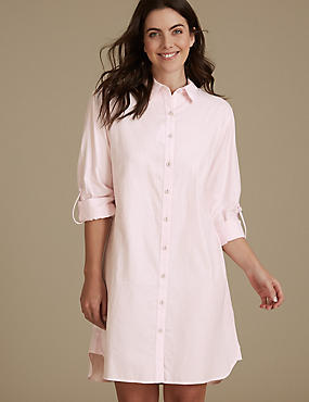 Pure Cotton Striped Nightshirt, PINK MIX, catlanding