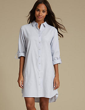 Pure Cotton Striped Nightshirt, BLUE MIX, catlanding
