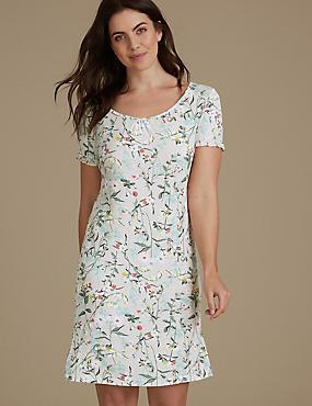 Floral Print Ruffle Sleeve Nightdress, OATMEAL MIX, catlanding