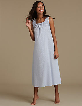 Pure Cotton Textured Nightdress, CHAMBRAY, catlanding