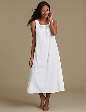 Pure Cotton Textured Nightdress, WHITE, catlanding