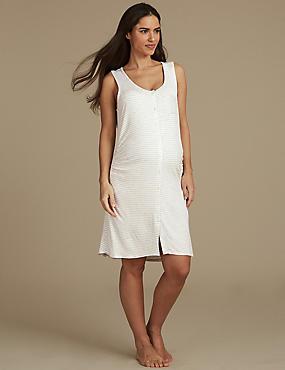 Maternity Striped Short Nightdress, GREY MIX, catlanding