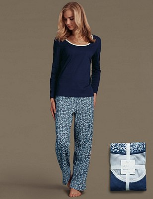 Pure Cotton Floral Pyjamas, NAVY MIX, catlanding