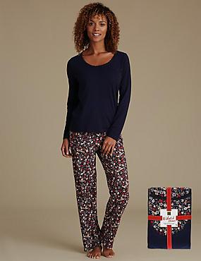Pure Cotton Floral Print Pyjamas, NAVY MIX, catlanding