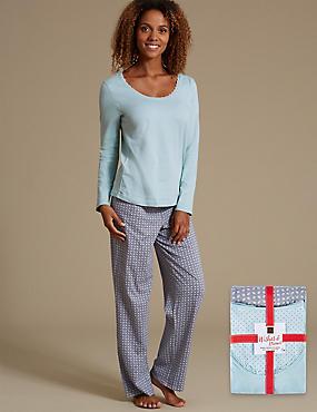 Pure Cotton Long Sleeve Pyjamas, GREY MIX, catlanding
