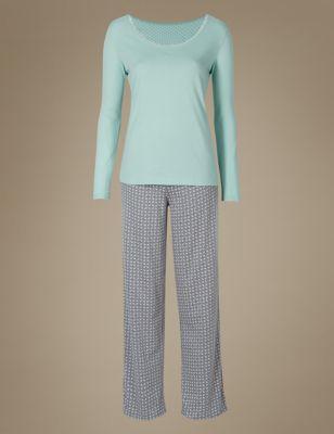Пижама из чистого хлопка с актуальным цветовым решением