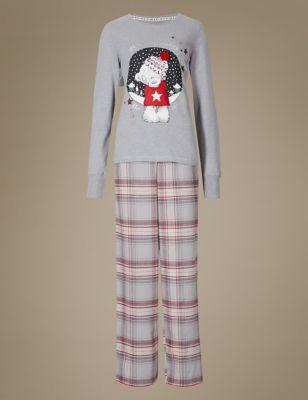 Хлопковая пижама с новогодним дизайном Tatty Teddy T374117F