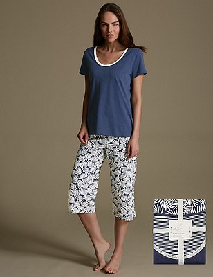 Pure Cotton Palm Print Cropped Pyjamas, NAVY MIX, catlanding