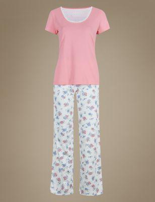 Пижама из чистого хлопка в мелкий цветочек от Marks & Spencer