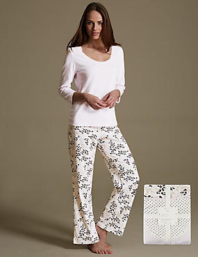 Pure Cotton Floral Pyjamas, PINK MIX, catlanding