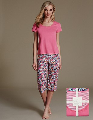 Pure Cotton Tropical Print Pyjamas, PINK MIX, catlanding