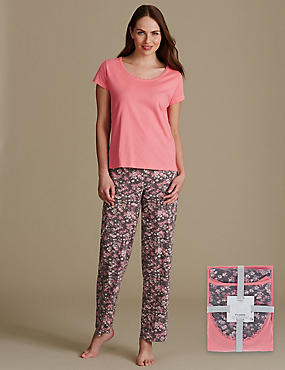 Pure Cotton Ditsy Floral Print Pyjama Set, GRANITE, catlanding