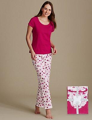 Pure Cotton Heart Print Pyjama Set, PINK MIX, catlanding