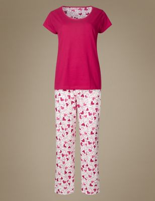 """Хлопковая женская пижама с принтом """"Сердце"""" M&S Collection T374167F"""